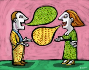 Man and woman with thought bubbles that match each other's clothing