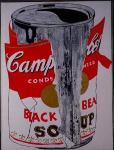 A. WARHOL. LATA GRANDE DE SOPA CAMPBELL'S RASGADA (BLACK BEAN), 1962.