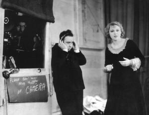 Hitchcock and Anny Ondra en plató de Blackmail