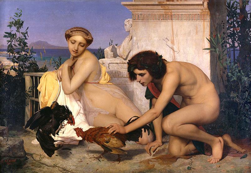 800px-JEAN-LÉON_GÉRÔME_-_Jóvenes_griegos_presenciando_una_pelea_de_gallos_(Museo_de_Orsay,_París,_1846._Óleo_sobre_lienzo,_143_x_204_cm)