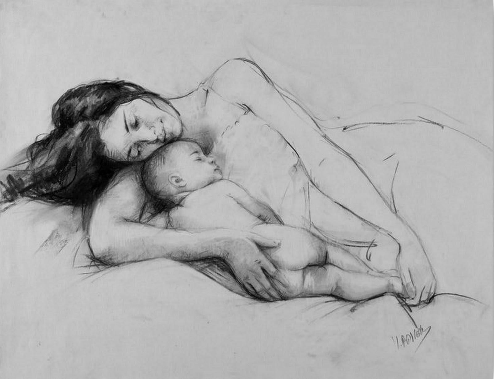 dibujo-a-lapiz-de-mujer-con-bebe